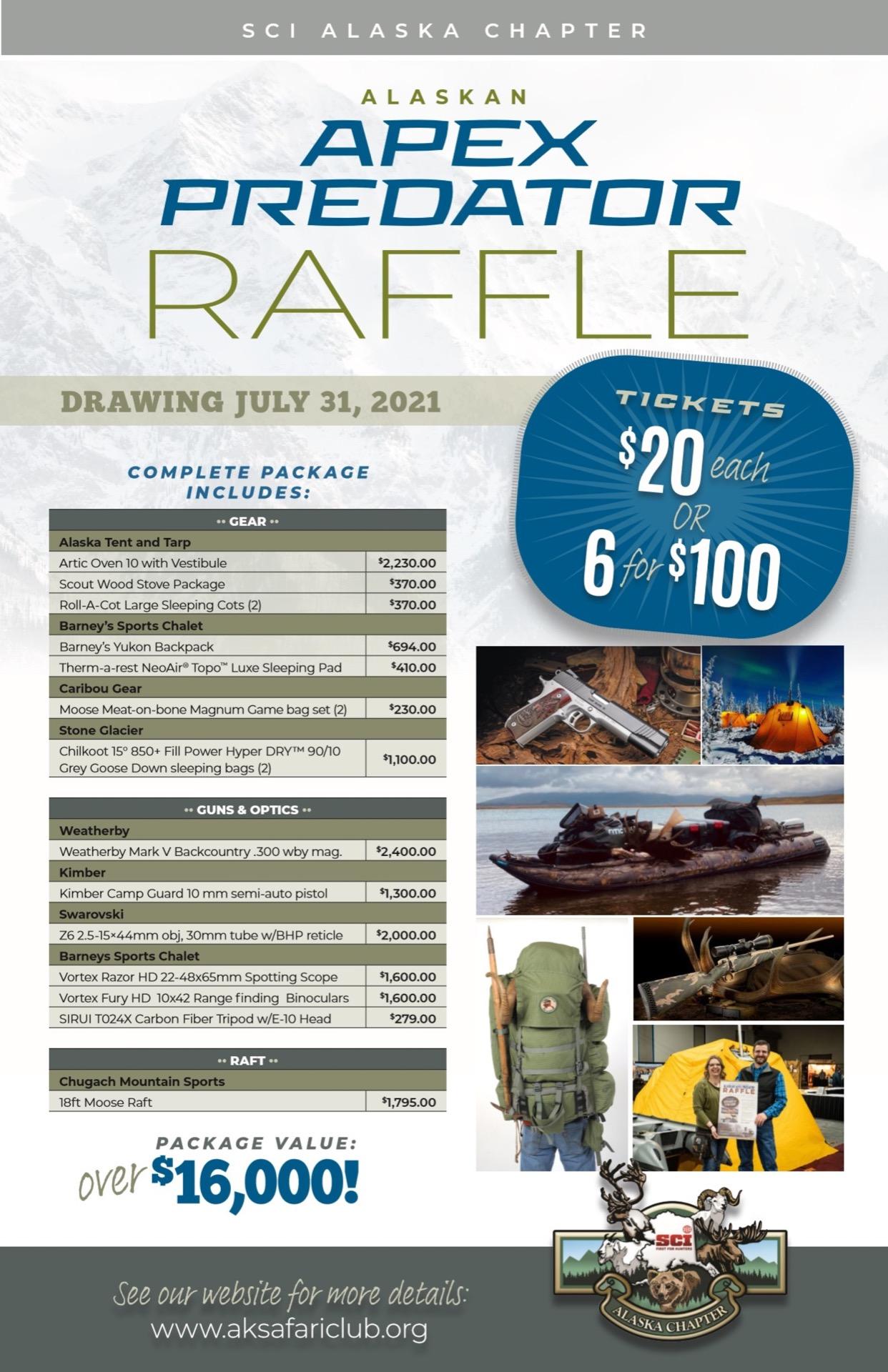 2021 Alaskan APEX Predator Raffle Flyer