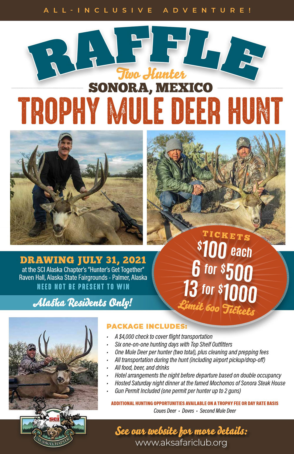 Sonora Mexico Trophy Mule Deer Hunt Raffle